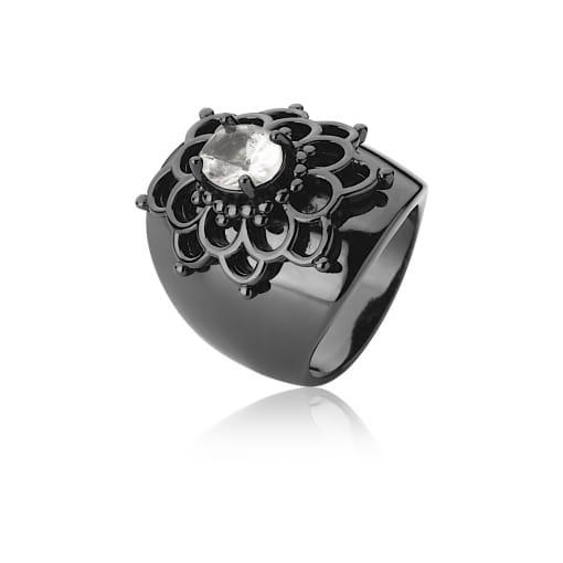Anel Flor com Cristal Oval Transparente Banhado a Ródio Negro