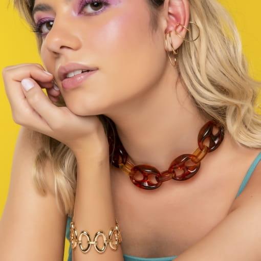 Piercing de Orelha Ear Hook Liso Banhado a Ouro