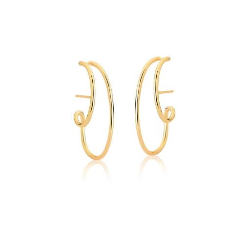Brinco Ear Hook Curvo com Duas Voltas Liso Banhado a Ouro