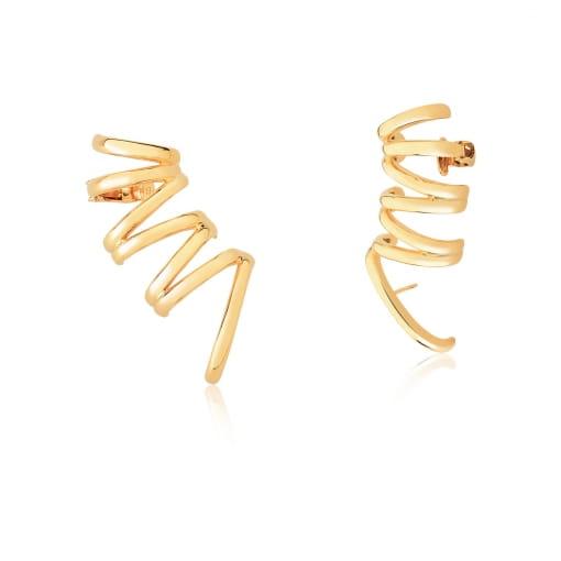 Brinco Ear Cuff com Sete Fileiras Lisas Banhado a Ouro