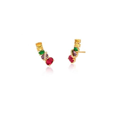 Brinco Ear Cuff com Cristais Ovais Coloridos Banhado a Ouro