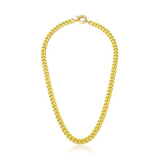 Corrente em Malha Groumet Esmaltada Amarelo Neon Banhada a Ouro