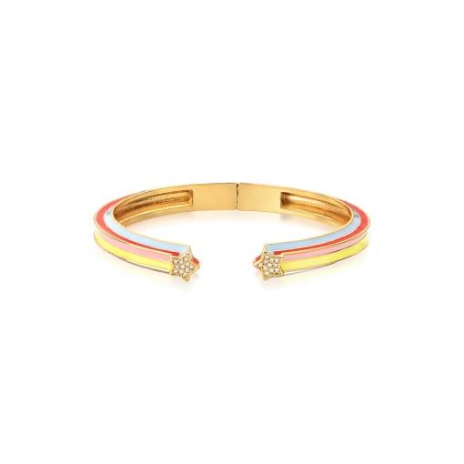 Bracelete Aberto Esmaltado Colorido com Estrelas Banhado a Ouro