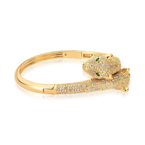 Bracelete com Dois Leopardos Branco Banhado a Ouro