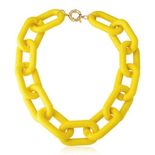 Colar com Elos Ovais em Acrílico Amarelo Banhado a Ouro