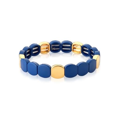 Pulseira com Acrílicos Esmaltados Azul Escuro Fio de Nylon