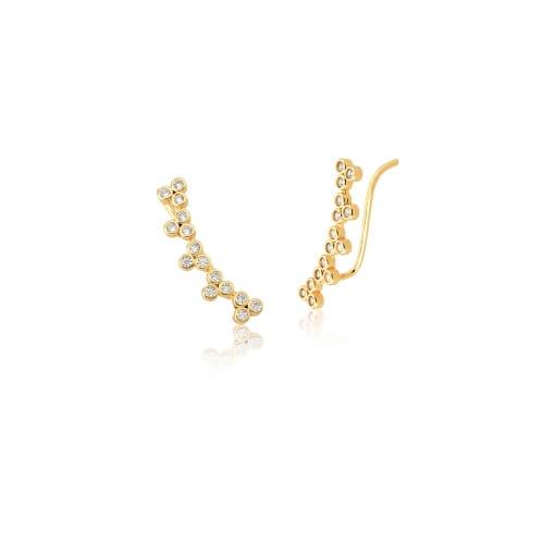 Brinco Ear Cuff com Zircônias Brancas Banhado a Ouro