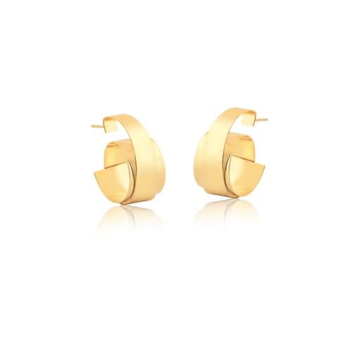 Meia Argola Espiral Curva e Lisa Banhada a Ouro
