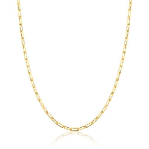 Corrente com Elos Retangulares 45cm + 5cm Lisa Banhada a Ouro