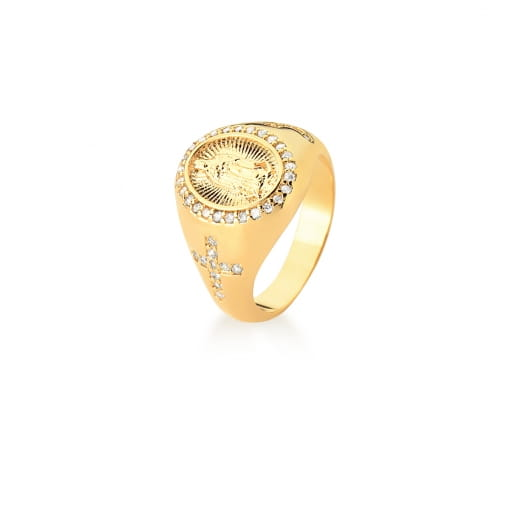 Anel Dedo Mínimo de Nossa Senhora do Guadalupe Banhado a Ouro