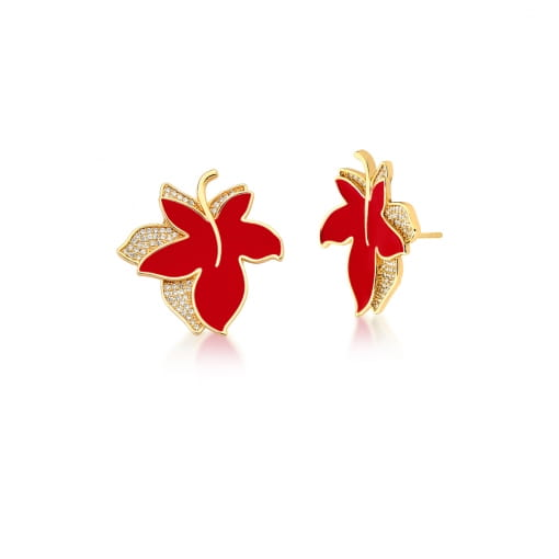 Brinco de Flor Esmaltado Cor Vermelha Cravejado Banhado a Ouro