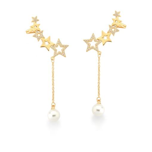 Brinco Ear Cuff com Estrelas e Pérolas Banhado a Ouro