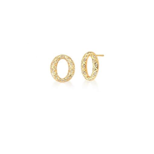 Brinco Oval Trabalhado e Cravejado com Zircônias Banhado a Ouro