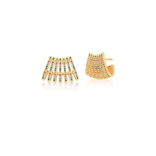 Brinco Curvo Sete Fileiras de Zircônias Coloridas Banhado a Ouro