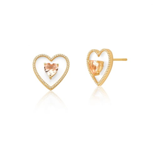 Brinco de Coração Cor Morganita e Acrílico Banhado a Ouro