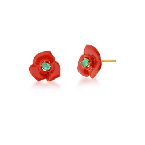Brinco de Flor Esmaltado Vermelho e Turmalina Banhado a Ouro