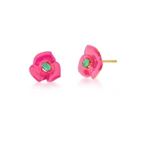 Brinco de Flor Esmaltado Pink e Turmalina Banhado a Ouro
