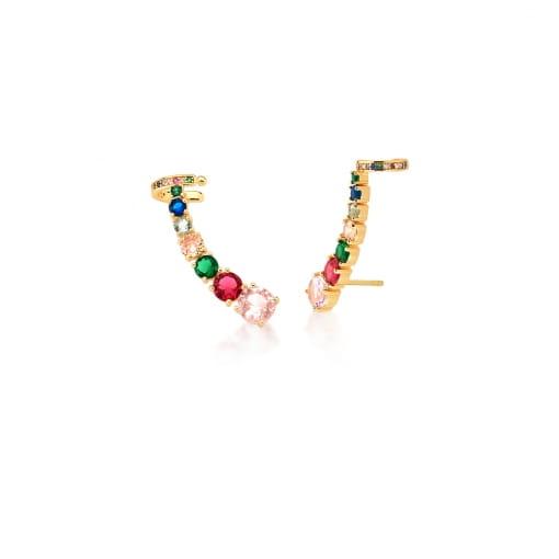 Brinco Ear Cuff com Cristais Coloridos Banhado a Ouro