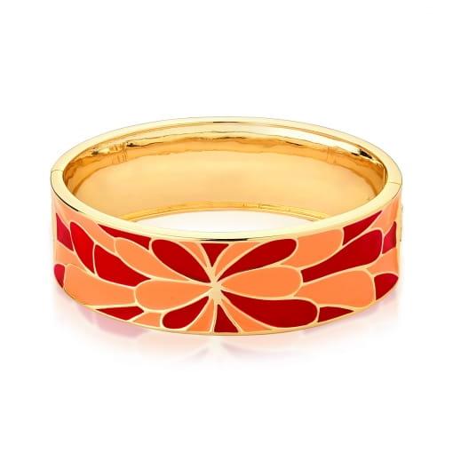 Bracelete Flor Esmaltado Alaranjado e Vermelho Banhado a Ouro