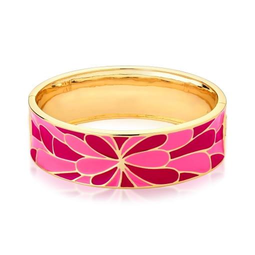 Bracelete Flor Esmaltado Rosa e Vermelho Banhado a Ouro