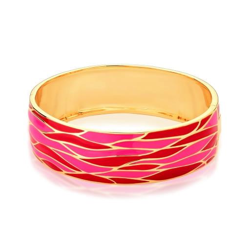 Bracelete Trabalhado Esmaltado Vermelho Banhado a Ouro