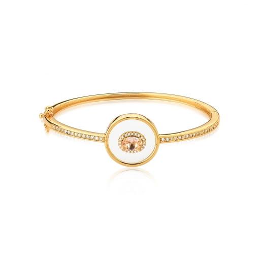 Bracelete com Cristal Morganita Banhado a Ouro