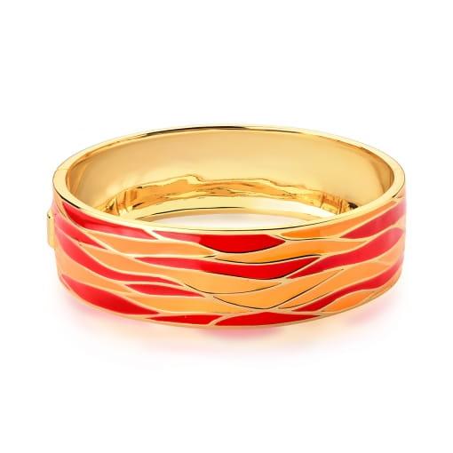 Bracelete Trabalhado Esmaltado Alaranjado Banhado a Ouro