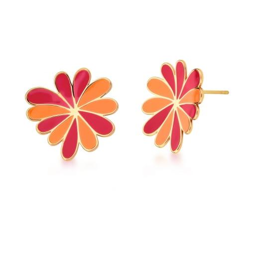 Brinco Flor Curva Esmaltado Alaranjado e Vermelho Banhado a Ouro