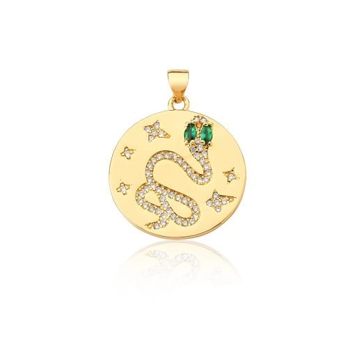 Pingente Redondo com Imagem de Cobra Verde Banhado a Ouro