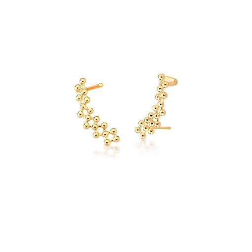 Brinco Ear Cuff com Bolinhas Lisas Banhado a Ouro
