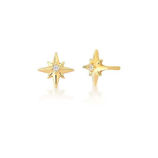 Brinco de Estrela com Zircônia Branca Banhado a Ouro