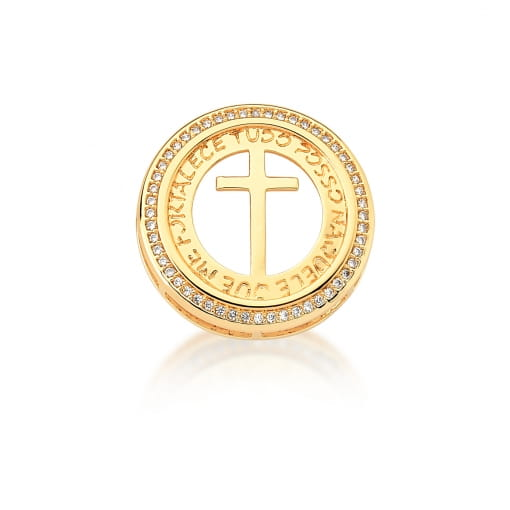 Pingente Redondo com Cruz e Escritas Banhado a Ouro