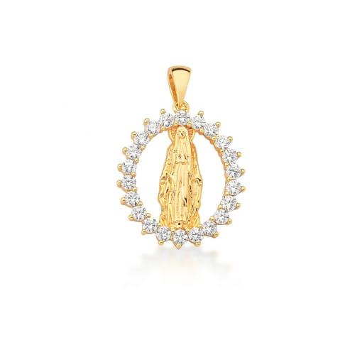 Pingente Oval com Imagem Nossa Senhora das Graças Banhado a Ouro