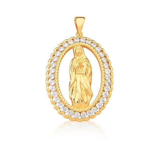 Pingente Oval com Imagem de Virgem Maria Banhado a Ouro