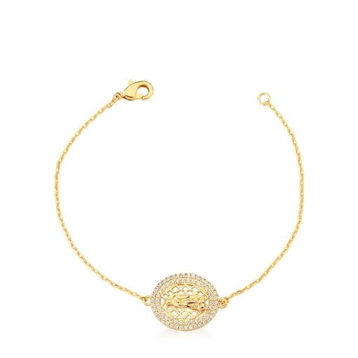 Pulseira com Pingente Oval Imagem de Virgem Maria Banhada a Ouro