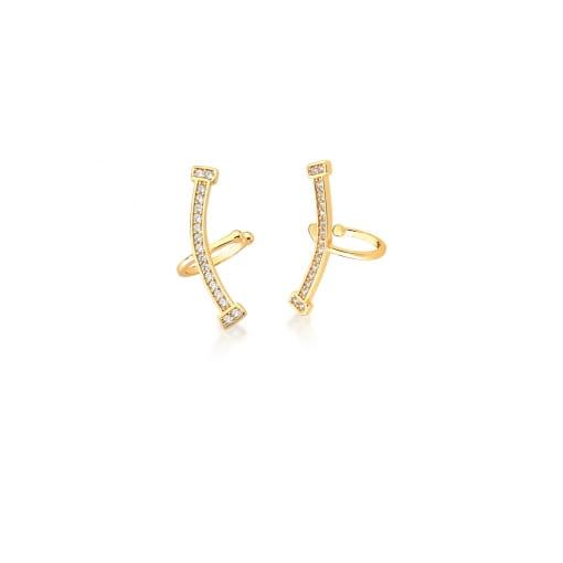 Piercing de Orelha Curvo com Zircônias Brancas Banhado a Ouro