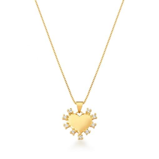 Corrente com Pingente de Coração Branco Banhada a Ouro
