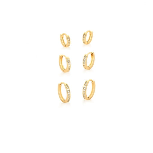 Kit Três Pares de Argolas Decrescentes Brancas Banhado a Ouro