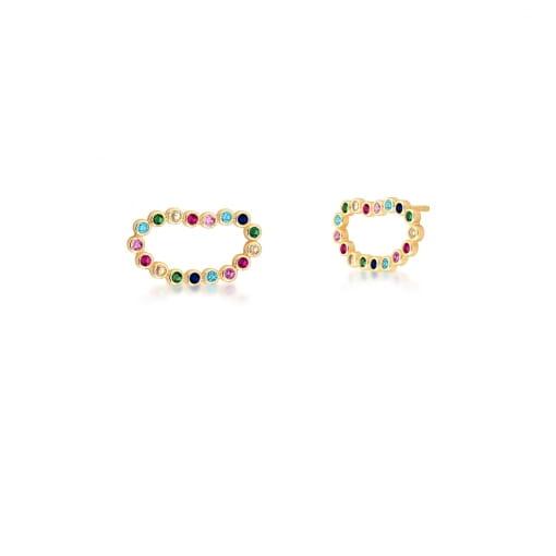 Brinco Oval Vazado com Zircônias Coloridas Banhado a Ouro