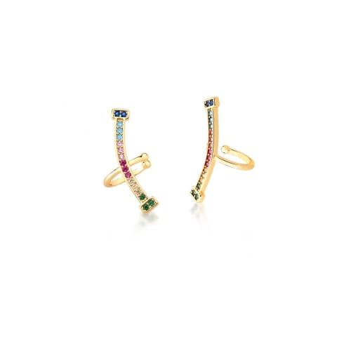 Piercing de Orelha Curvo com Zircônias Coloridas Banhado a Ouro