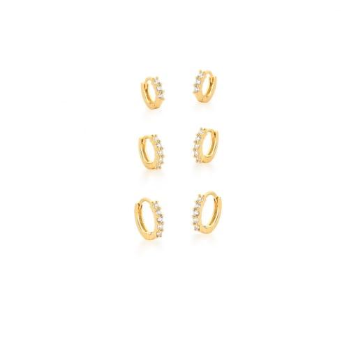 Kit Três Pares de Argolas com Zircônias Brancas Banhado a Ouro