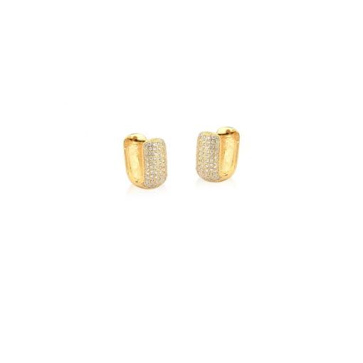 Argola Retangular com Seis Fileiras de Zircônias Banhada a Ouro