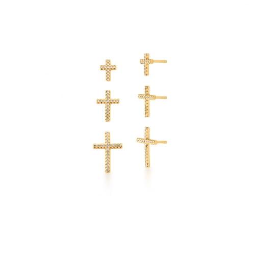 Kit Três Pares de Brincos de Cruz Branca Banhado a Ouro