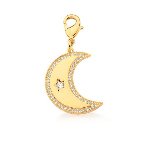 Pingente de Lua com Zircônias Brancas e Fecho Banhado a Ouro