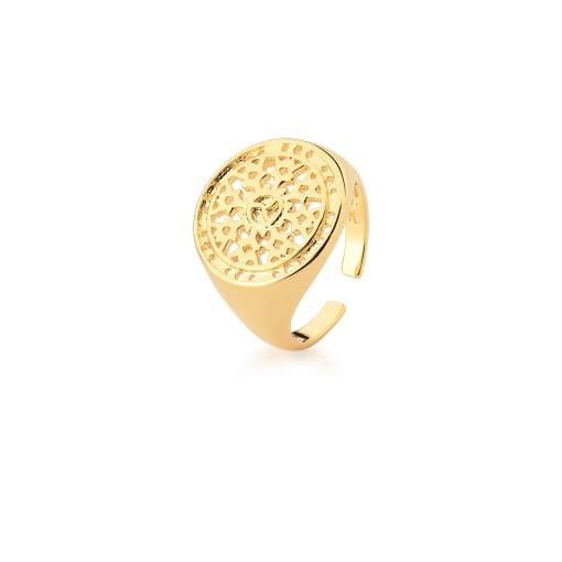 Anel Dedo Mínimo Redondo Vazado em Arabescos Banhado a Ouro