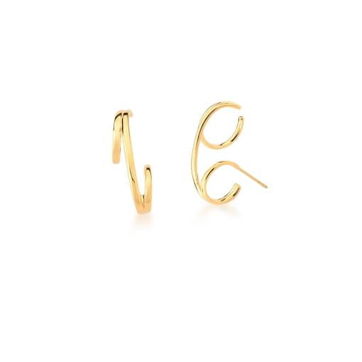 Brinco Ear Hook Curvo e Liso Banhado a Ouro