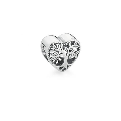 Berloque de Coração com Árvore da Vida Liso em Prata Envelhecida