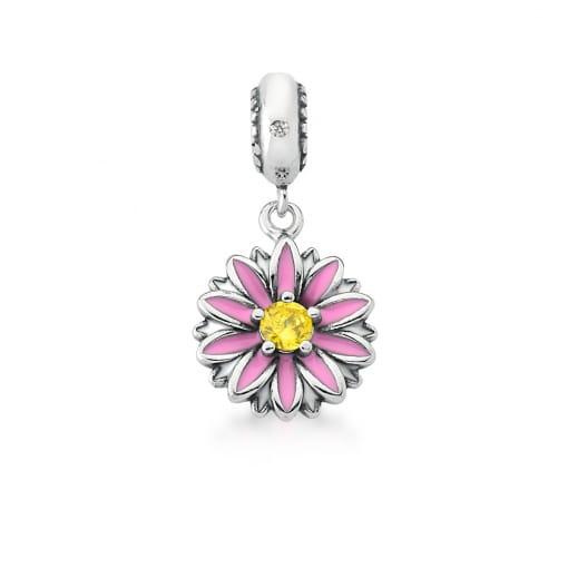 Pingente Berloque de Flor Rosa e Amarelo em Prata Envelhecida