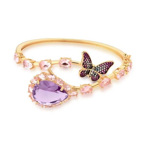 Bracelete com Borboleta e Cristal Ametista Banhado a Ouro