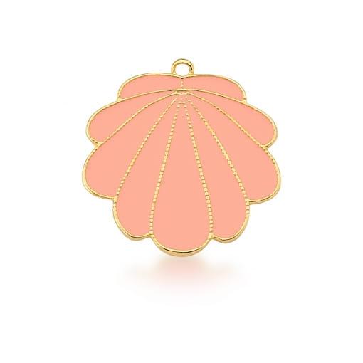 Pingente de Concha Esmaltado na Cor Rosa Banhado a Ouro